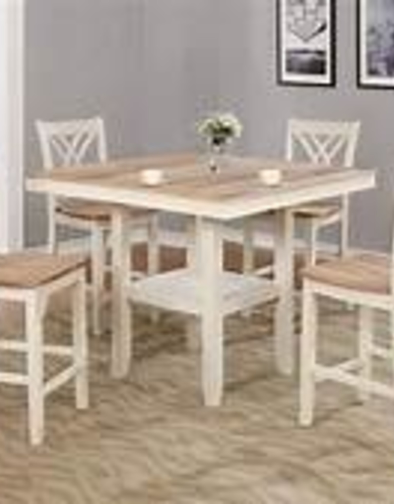Crownmark Josie Counter-Height Table - White & Natural