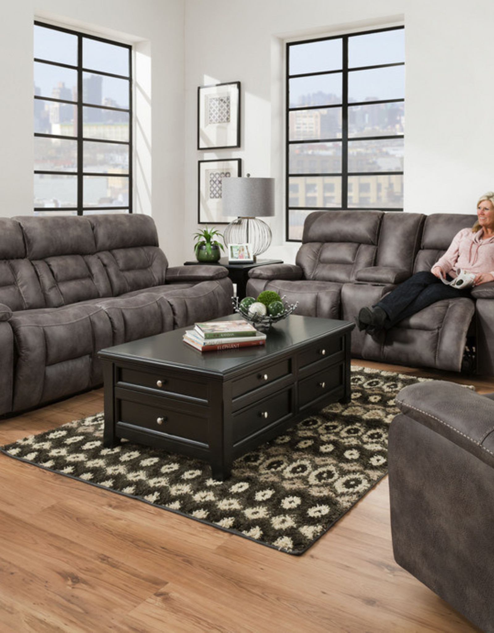 Picture of: Dorado Charcoal Dual Reclining Sofa And Love Seat Set No Power Bargain Box And Bunks