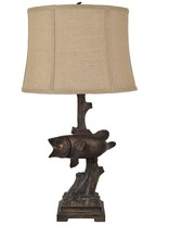Crestview First Catch fish lamp w/ burlap shade