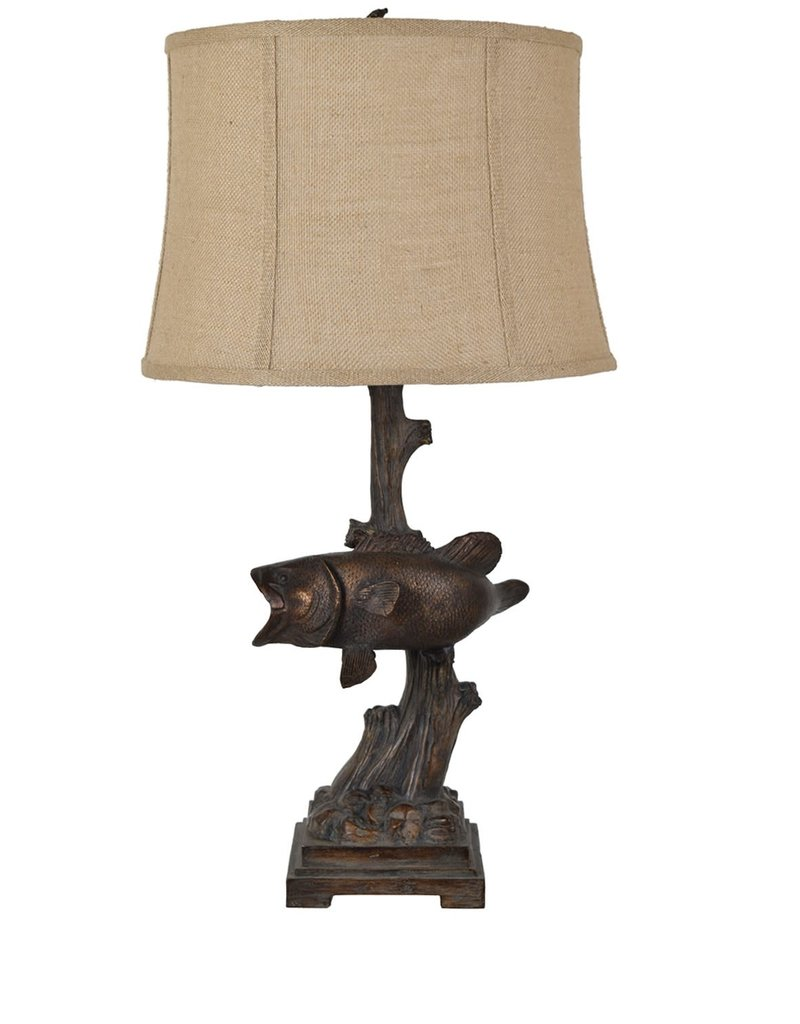 Crestview First Catch fish lamp w/ burlap shade