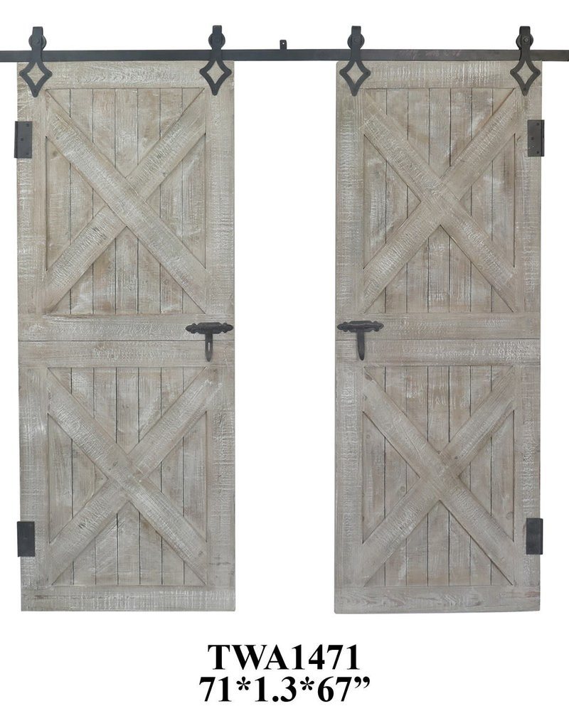 Crestview Double Rustic Barn Door Wall Decor Set