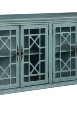 Crestview Mendenhall 4 Geometric Glass Door Textured Teal Sideboard
