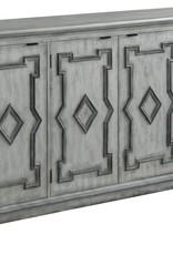 Crestview Normandy 4 Door Antique White Sideboard w/ Grey Fretwork Design