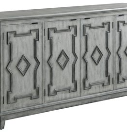 Crestview Normandy 4 Door Antique White Sideboard w/ Grey Fretwork Design