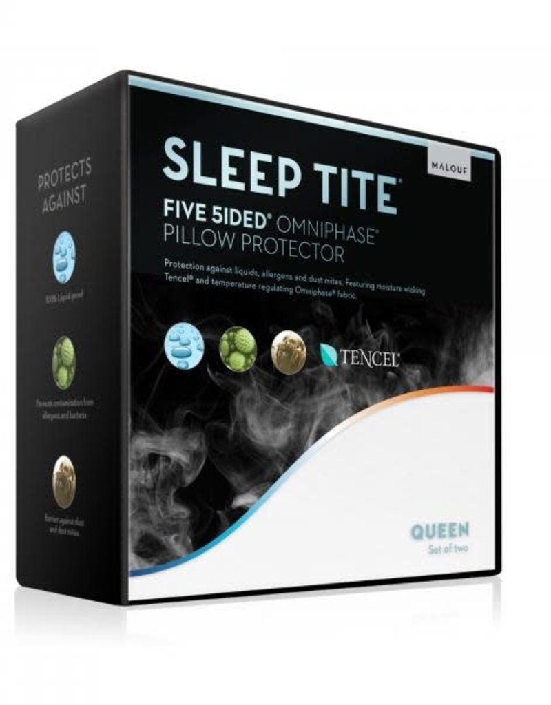 Malouf Sleep Tite Queen 5 Side Mattress Protector Omniphase & Tencel