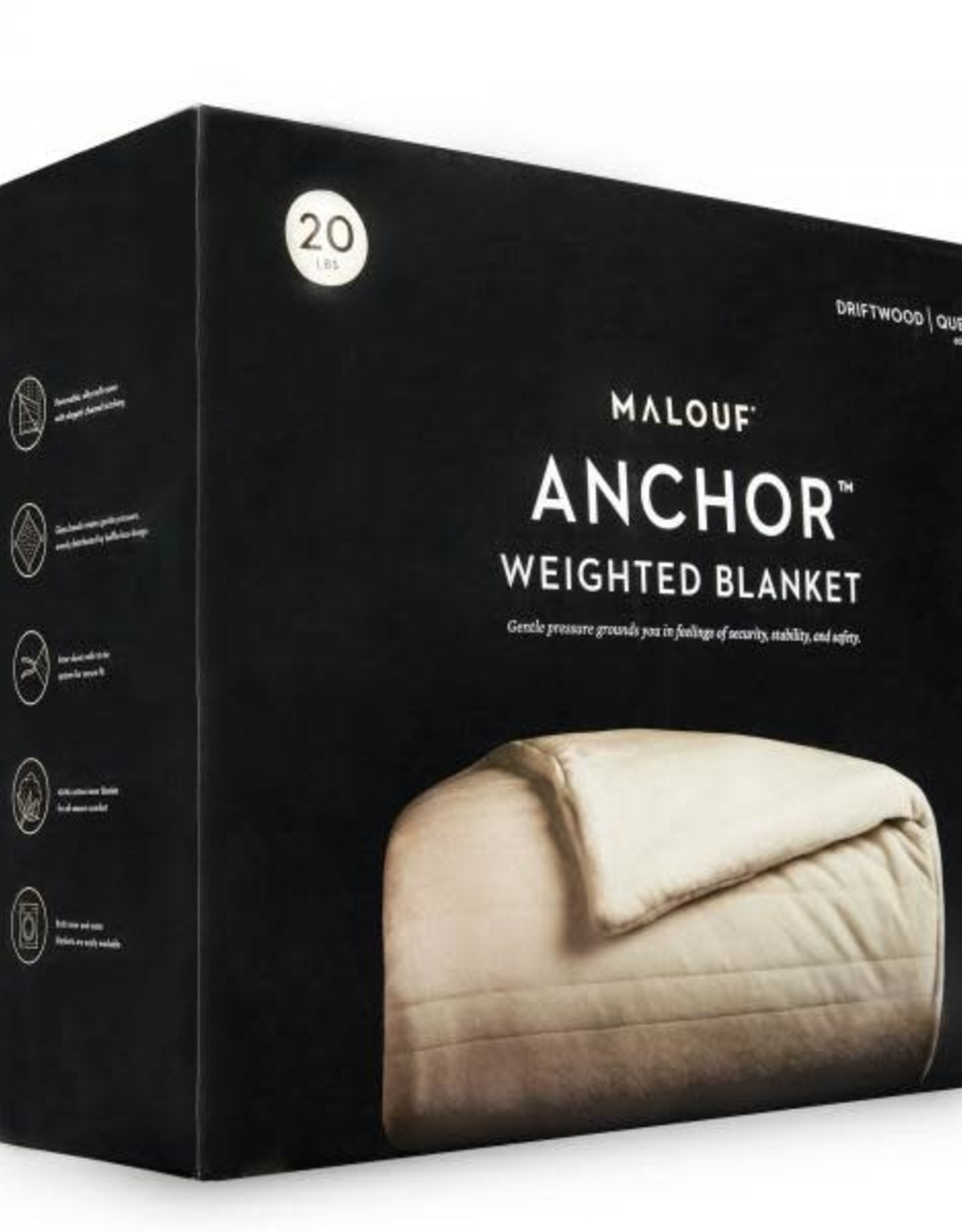 Malouf Weighted Throw Blanket, 15lbs Driftwood