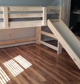 Bargain Bunks Mini Loft w/ Slide (Right side) - unfinished / natural