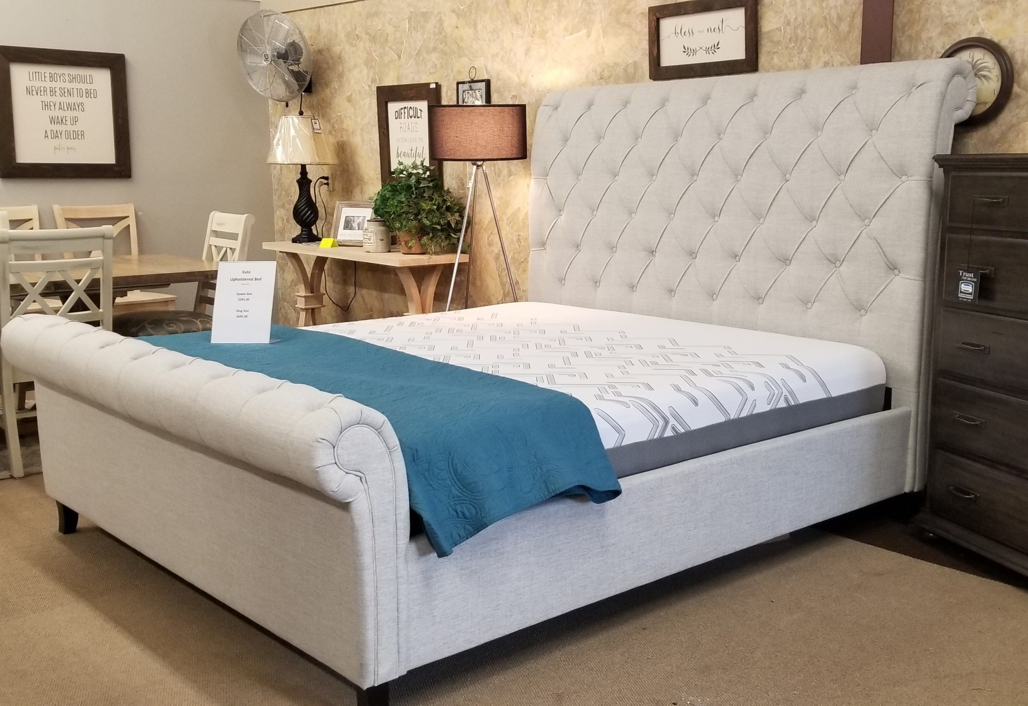 Kate Upholstered Bed Bargain Box And Bunks
