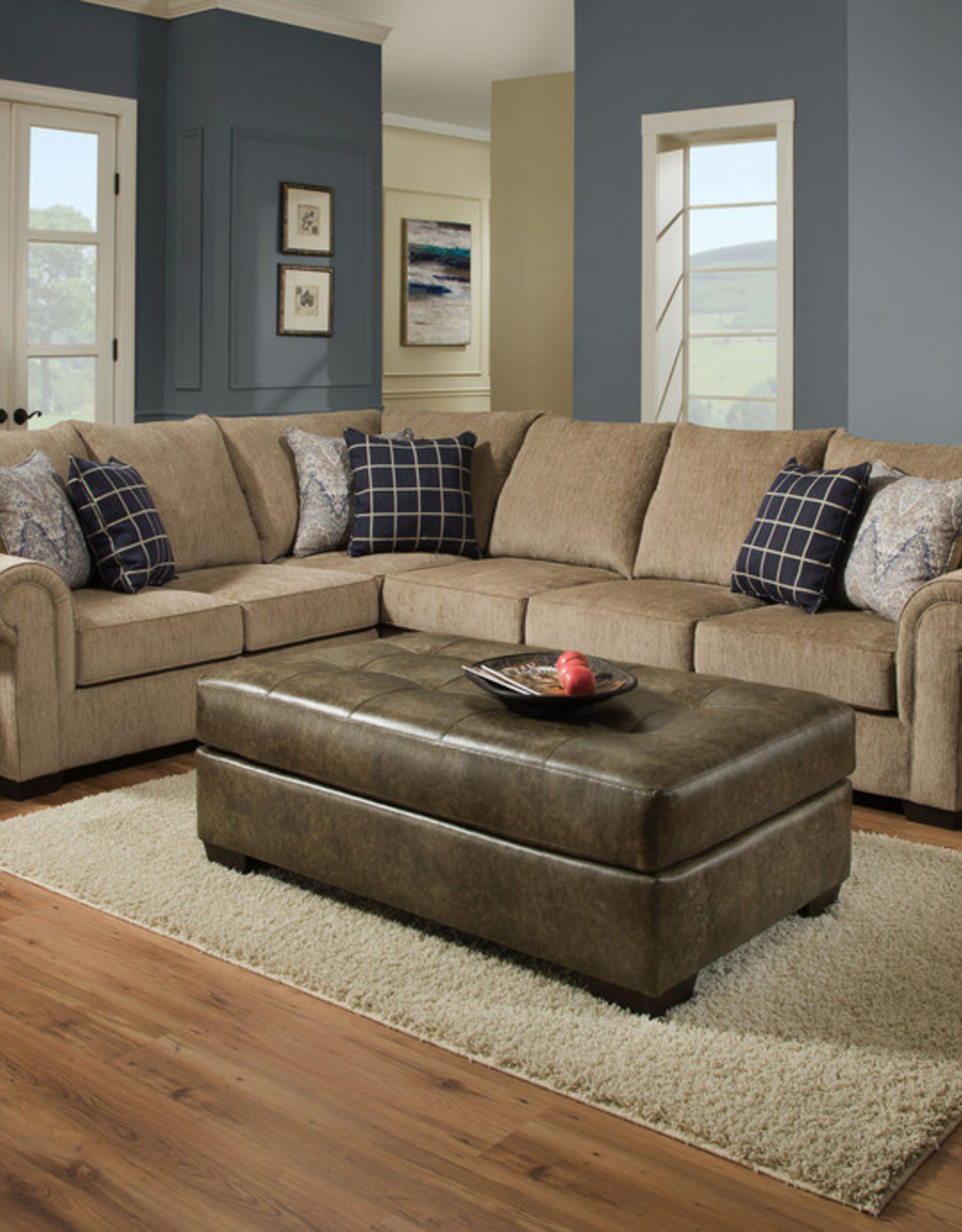 United Gavin Mushroom Sectional w/ Queen Sleeper