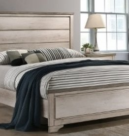 Crownmark Patterson Distressed White Panel Bed