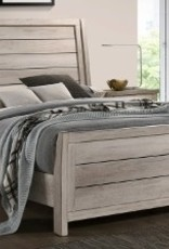 Crownmark Patterson Distressed White Sleigh Bed