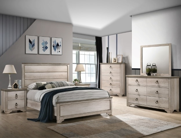 Patterson Distressed White Bedroom Set Bargain Box And Bunks