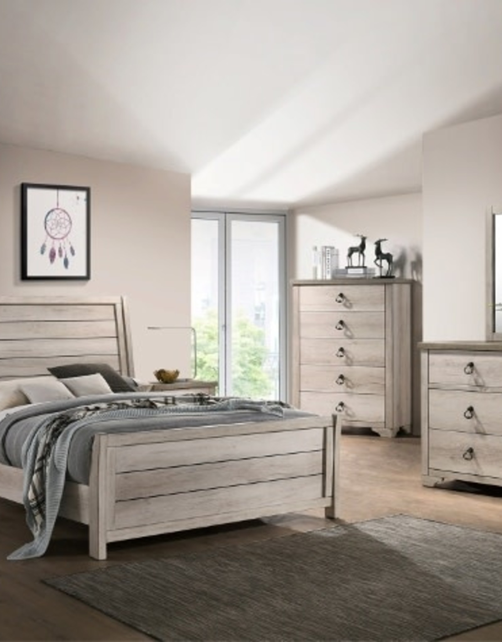 Crownmark Patterson Distressed White Bedroom Set