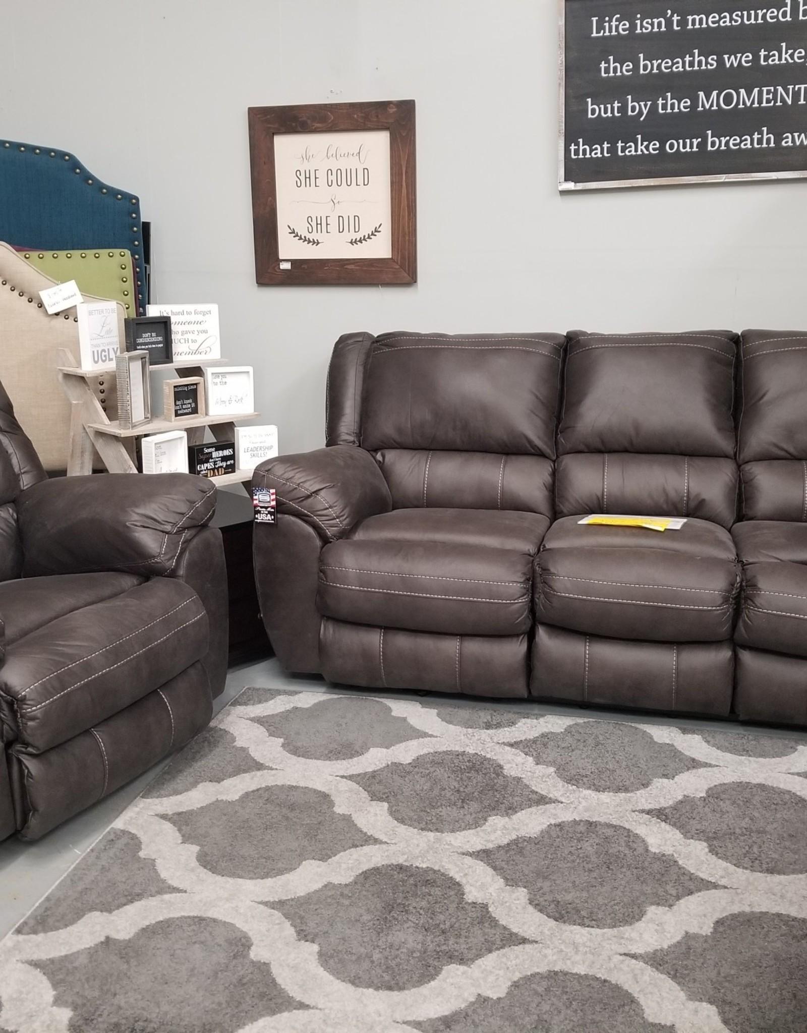 Shiloh Granite sofa w/power cuddler
