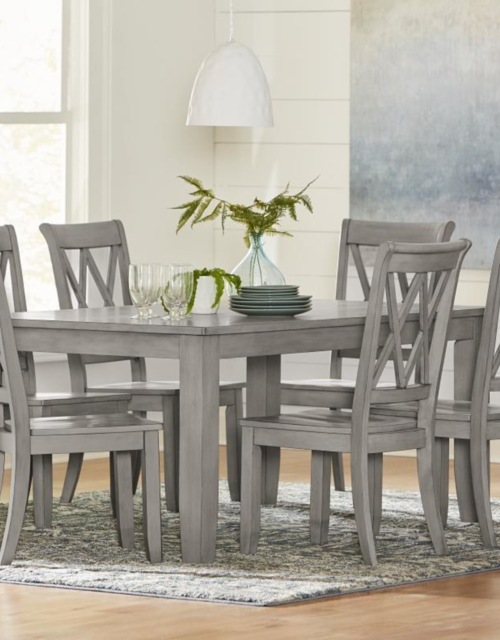 Baldwin Grey Dining Table w/ 6 Chairs - Bargain Box and Bunks