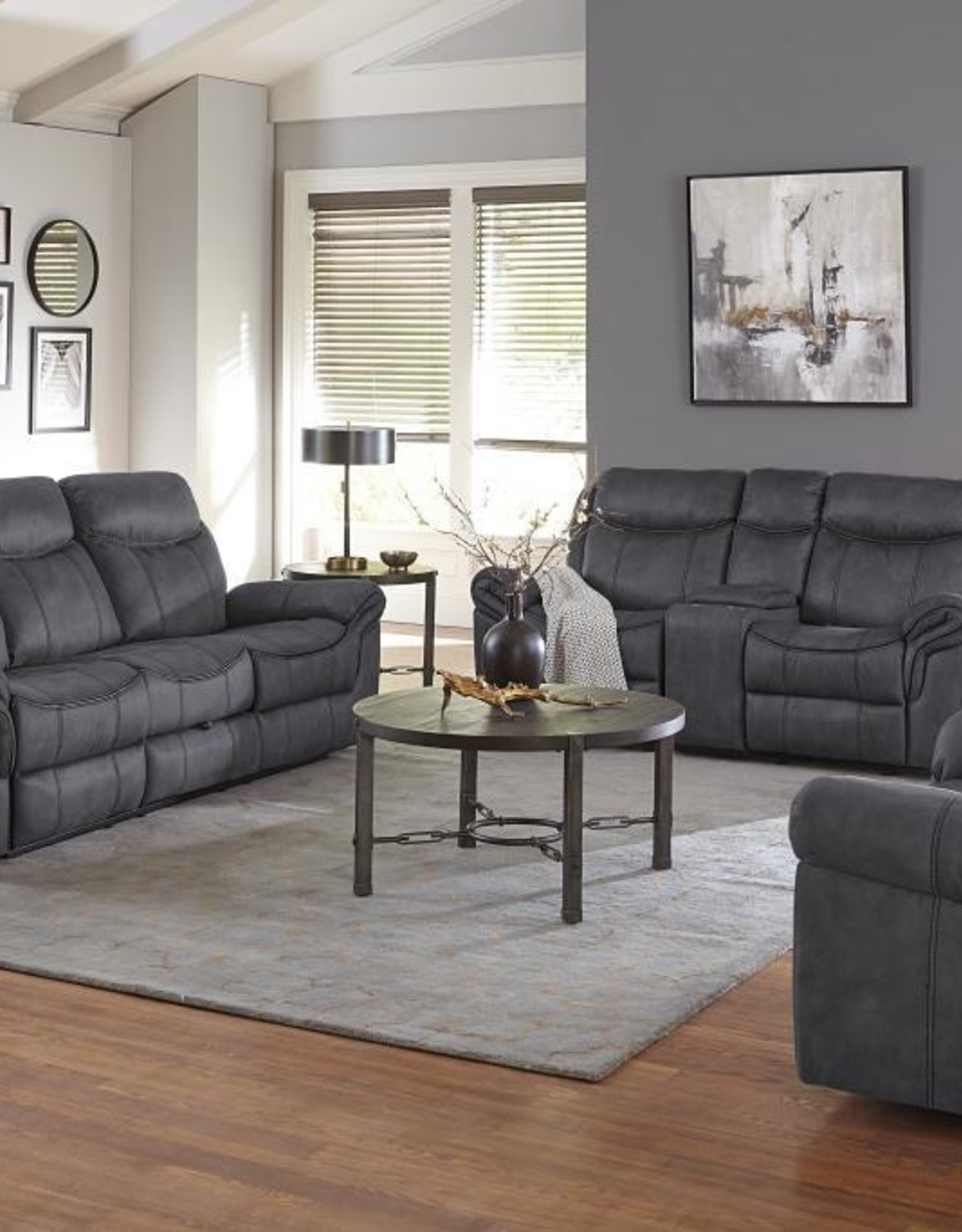 Standard Furniture Knoxville Grey Dual-Reclining Sofa w/ Drop Table