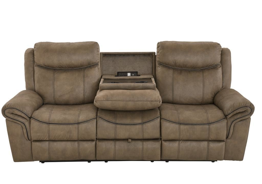 Knoxville Mocha Brown Dual Reclining Sofa W Drop Table