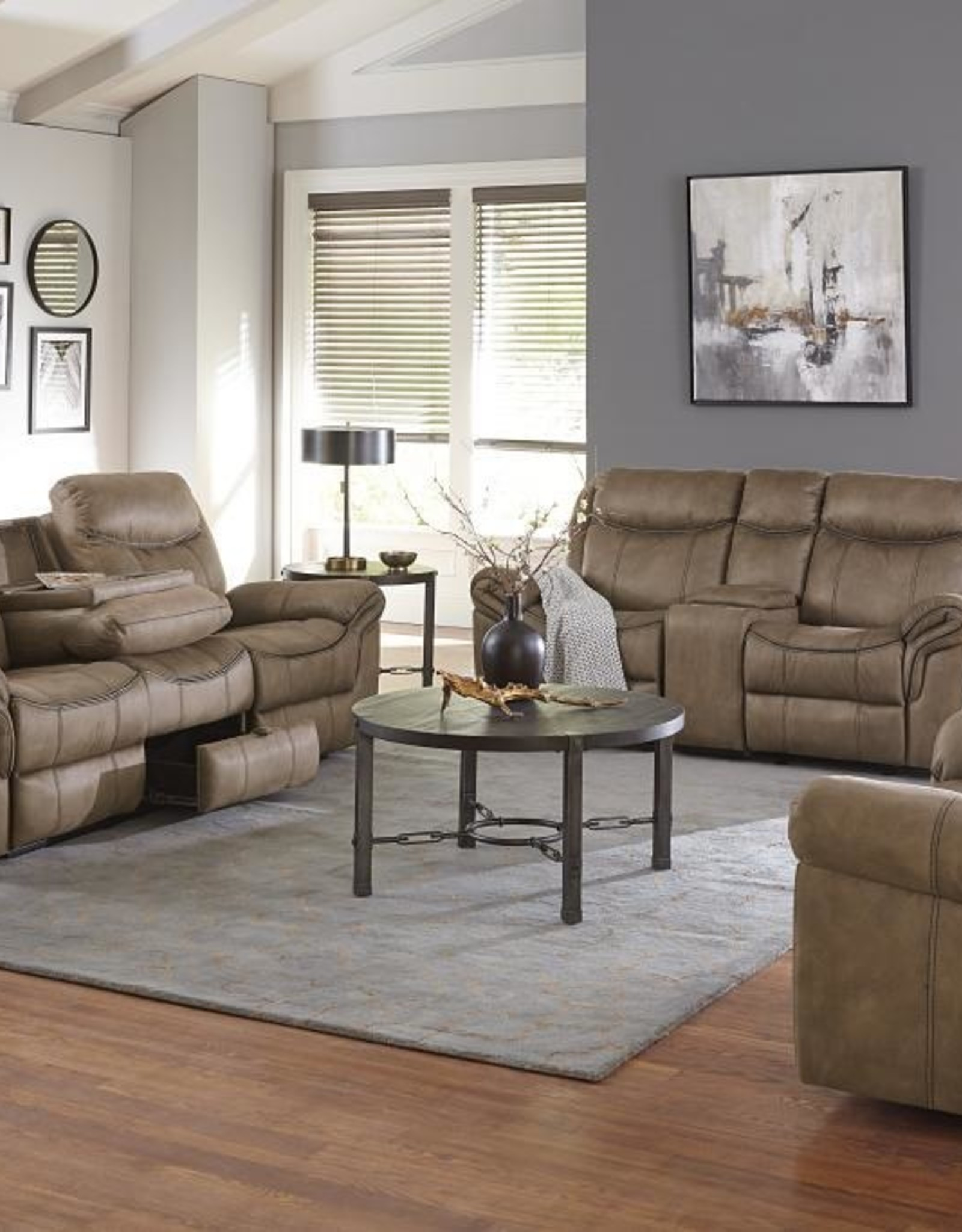 Standard Furniture Knoxville Mocha Brown Dual-Reclining Sofa w/ Drop Table