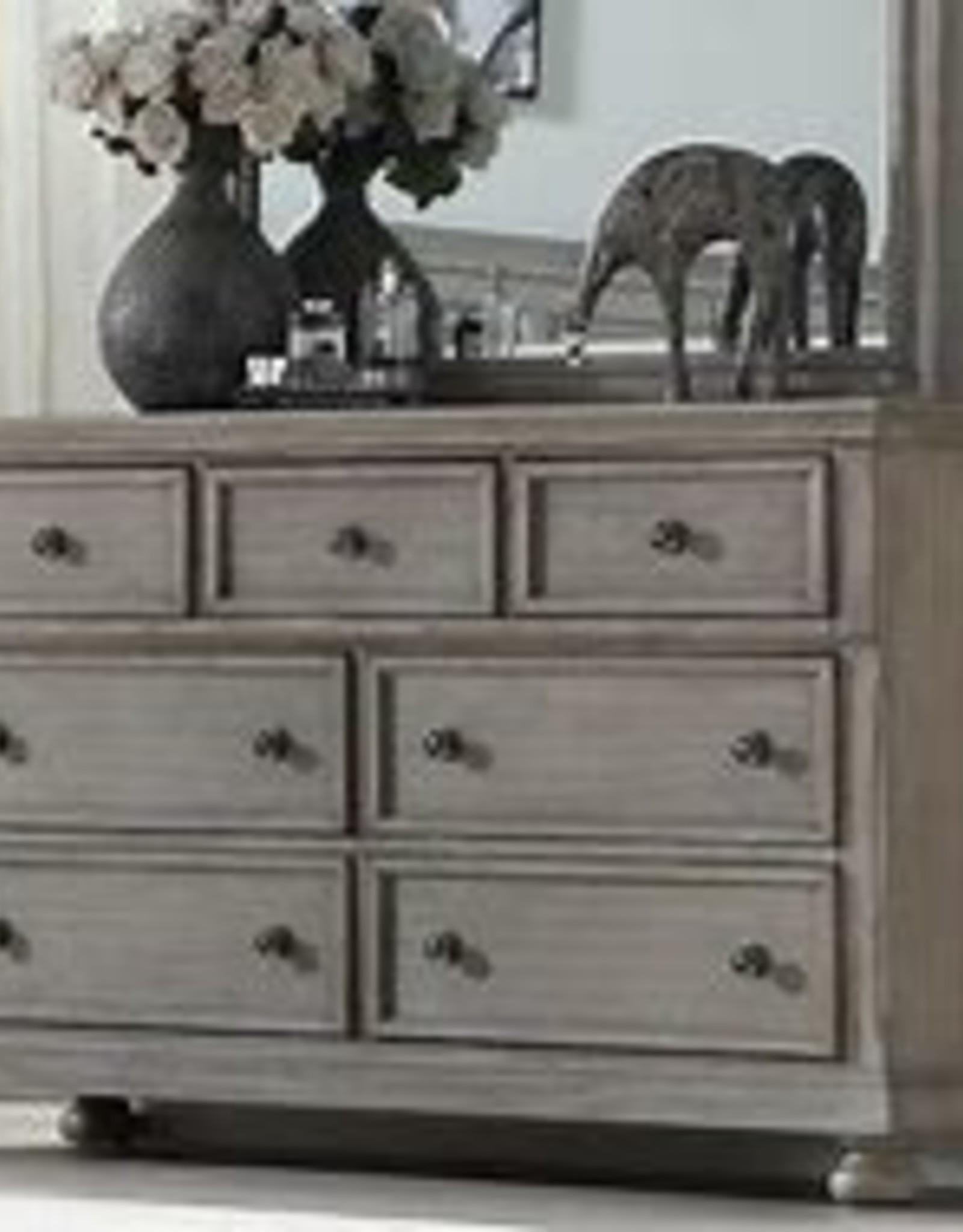 Bernards Ashcott Grey 7 Drawer Dresser with Mirror