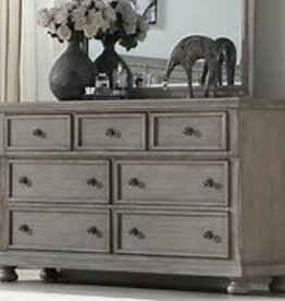 Bernards Ashcott Grey 7 Drawer Dresser with Mirror