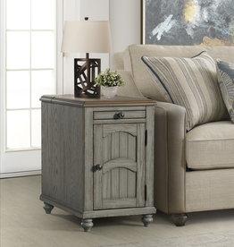 Lane Power Chairside Table w/ Flip-Top - Antique Gray