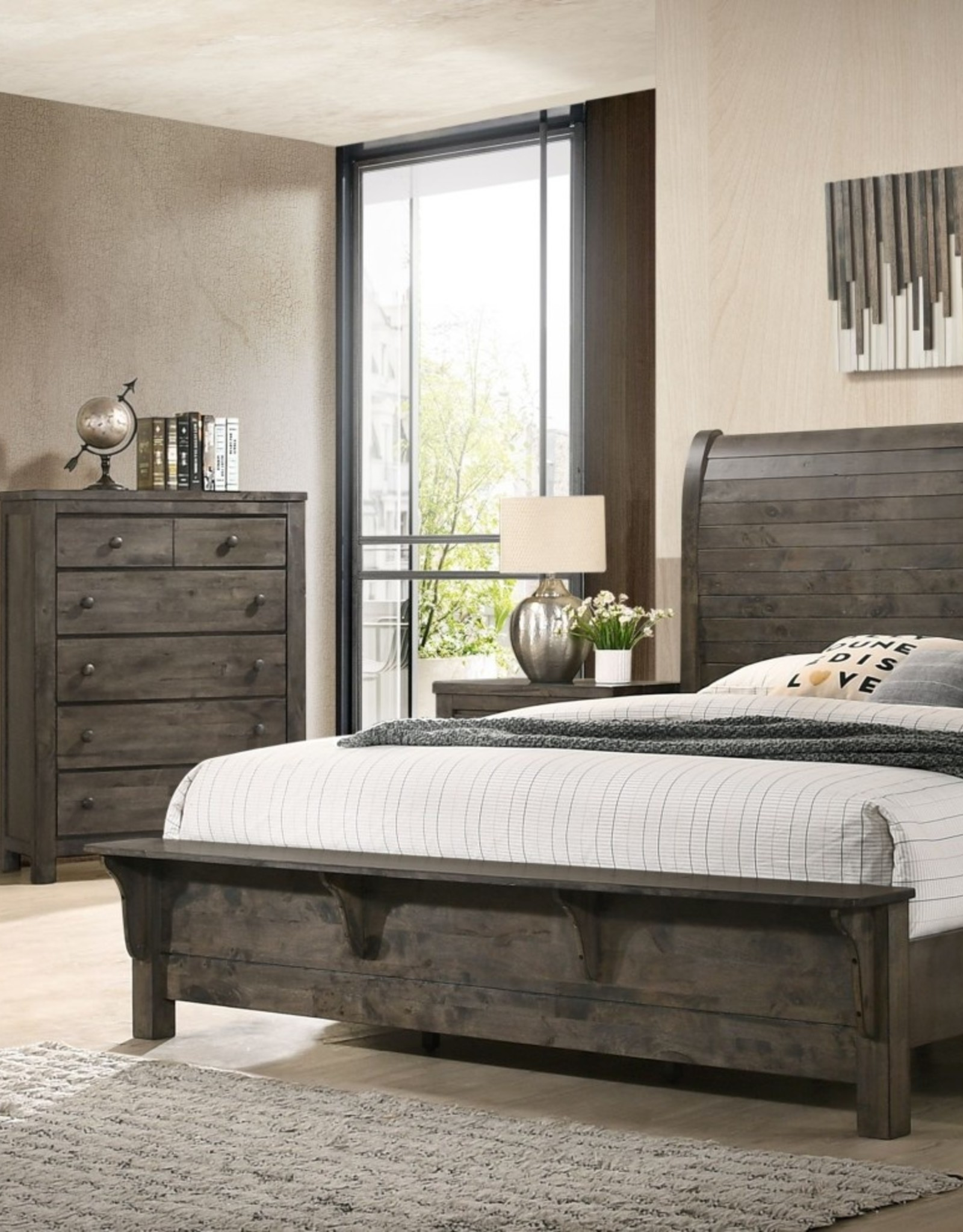 SouthCo Rustic Charm Bedroom - Grey