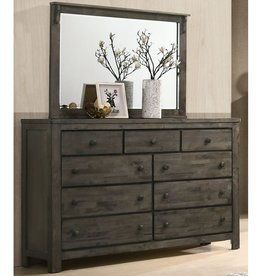 SouthCo Rustic Charm Dresser w/ Mirror - Gray
