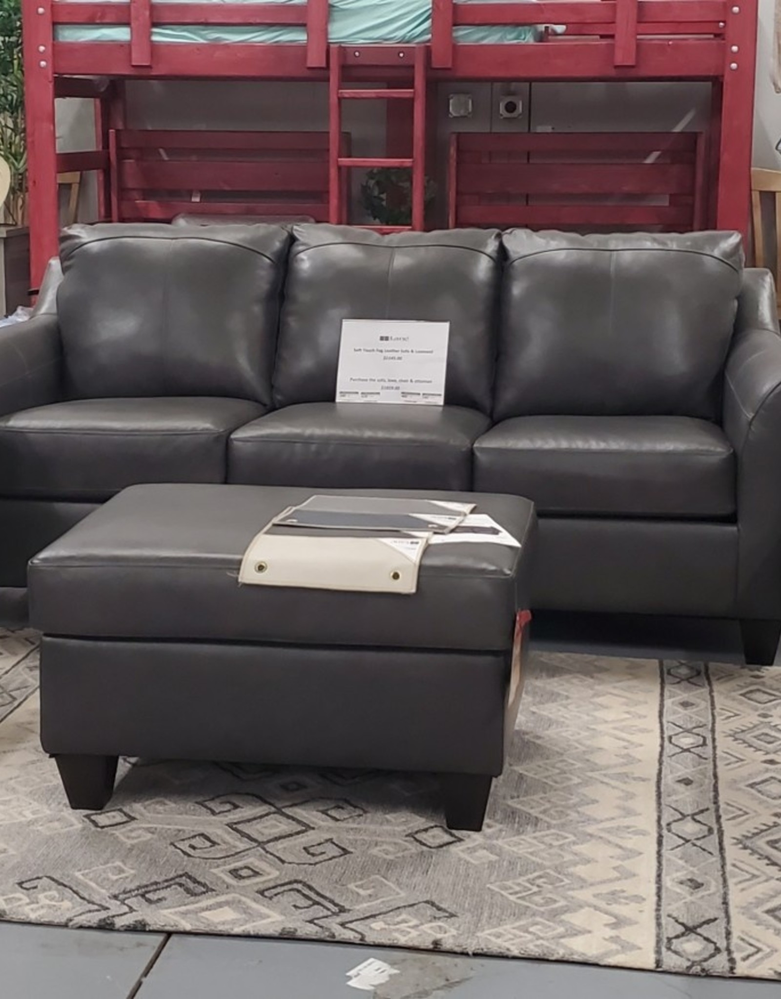 United Soft Touch Fog Leather Loveseat