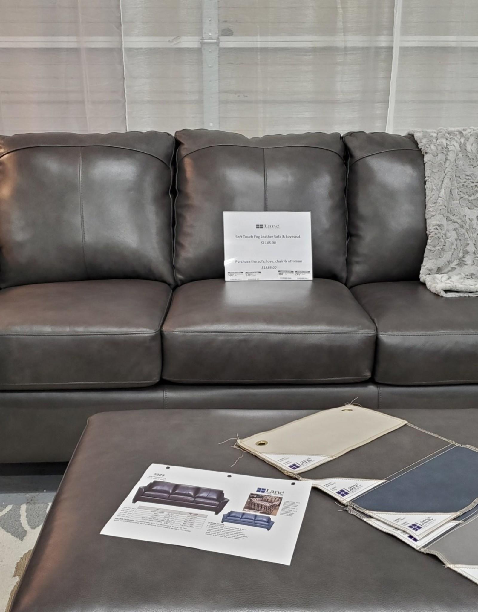 United Soft Touch Fog Leather Sofa