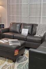 Lane Soft Touch Fog Leather Sofa & Loveseat
