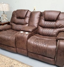 SouthCo Austin Chocolate Dual-Reclining Love seat - W/ Power