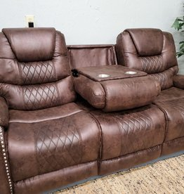 SouthCo Austin Chocolate Dual-Reclining Sofa w/ Drop-Down console - Power Recline