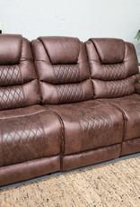 SouthCo Austin Chocolate Dual-Reclining Sofa w/ Drop-Down console - Power Recline
