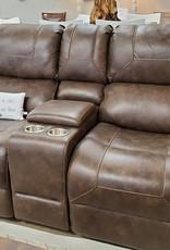 Standard Furniture Clayton Reclining Loveseat, Brown-nailhead