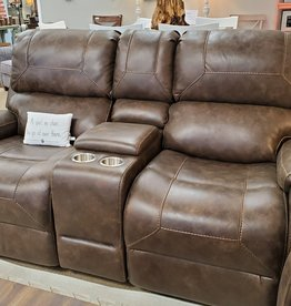 Standard Furniture Clayton Reclining Loveseat, Brown-nailhead