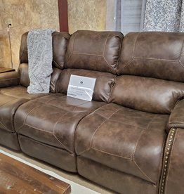 Standard Furniture Clayton Reclining Sofa, Brown-nailhead