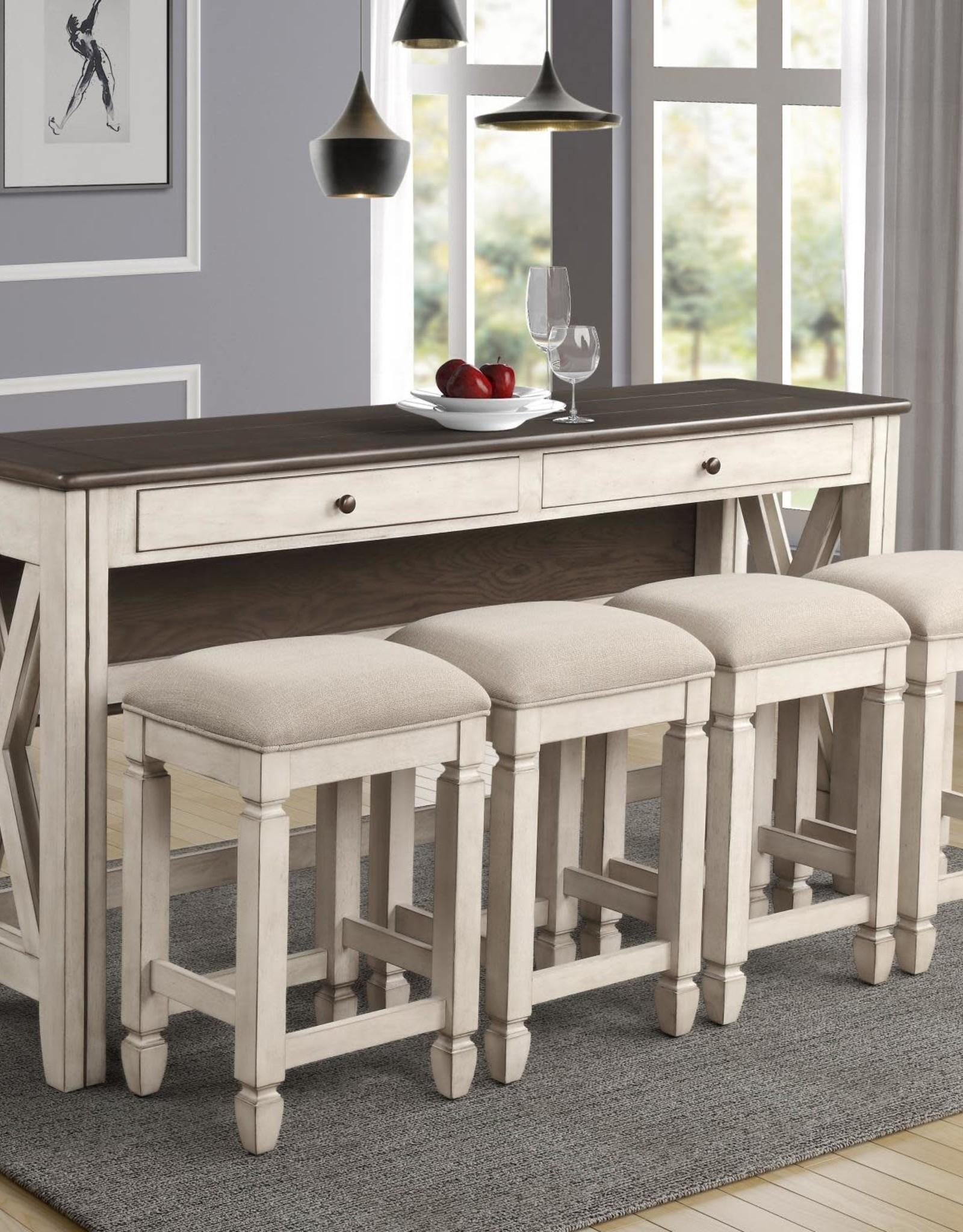 Bernards Waverly 5-Piece Drop-Side Bar Sofa Table w/ Stools - Beach White