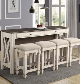 Bernards Waverly 5-Piece Drop-Side BarbSofa Table w/ Stools - Beach White