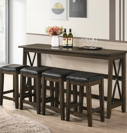 Bernards Carmino Sofa Bar w/ Drop-down Table & 4 Stools - French Gray