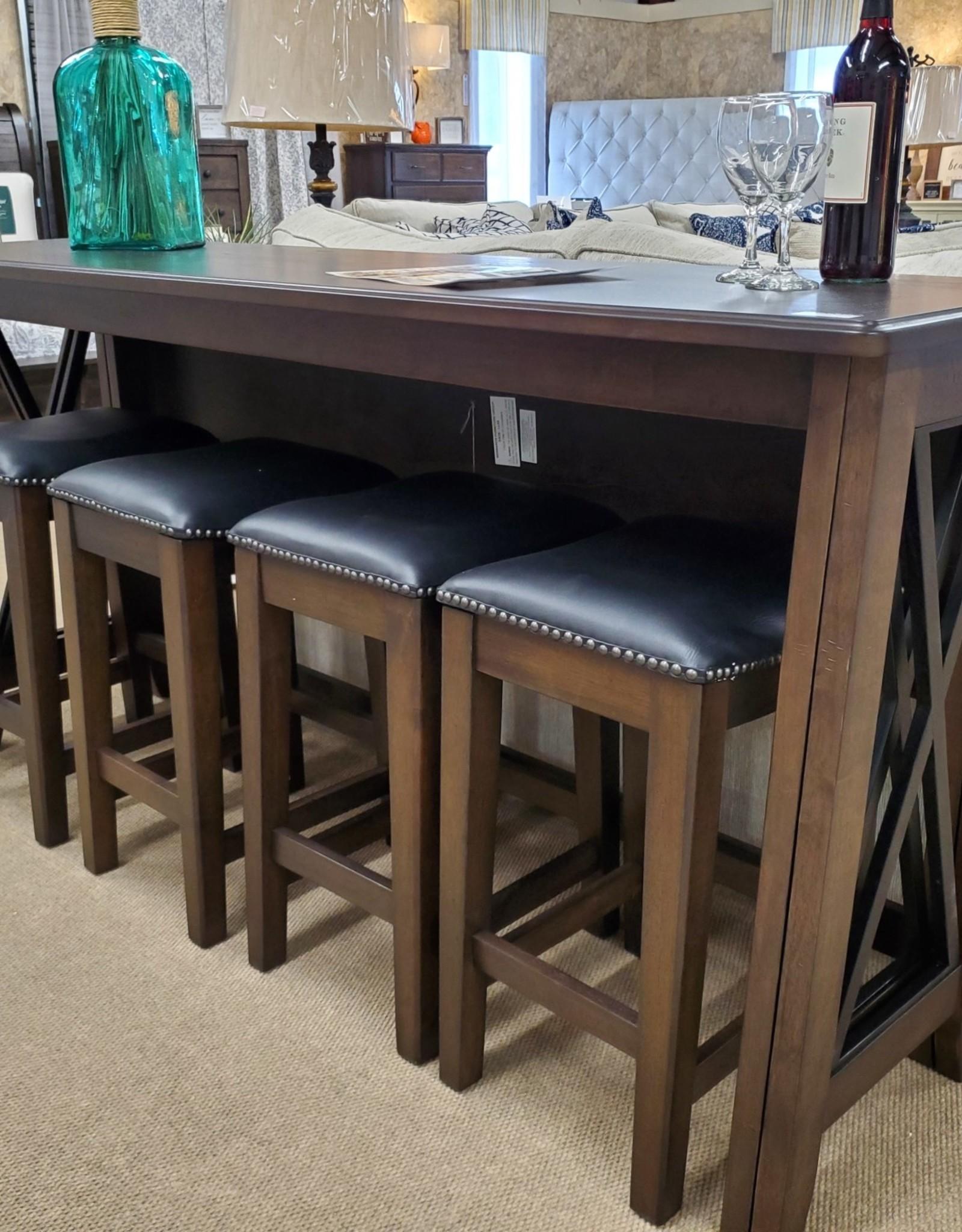 Bernards Carmino Sofa Bar w/ Drop-down Table & 4 Stools - French Gray