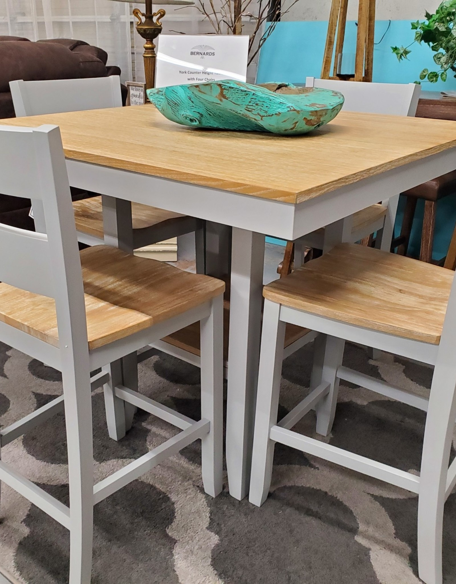 Bernards York Counter Height Table with Four Chairs