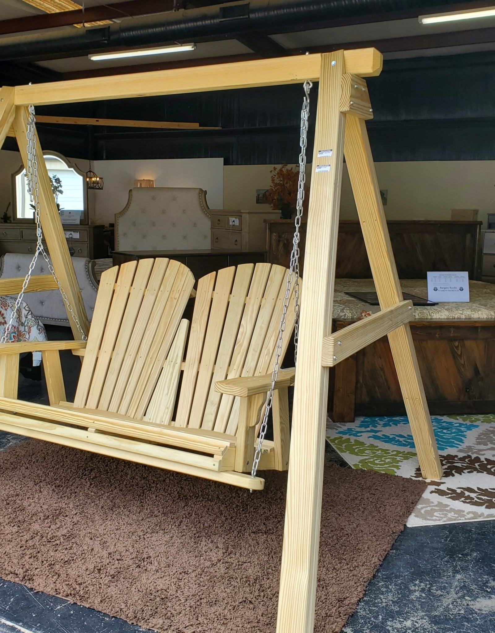 Fighting Creek Amish Outdoor Wooden Swing w/ Frame