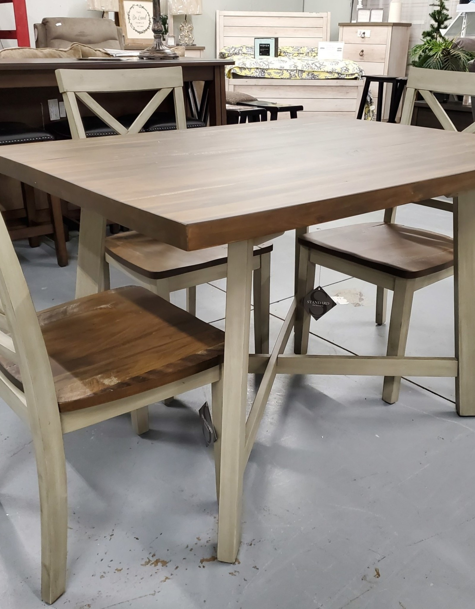 Standard Furniture Fairhaven Gray and Weatherwood Dining Table w/ 4 chairs
