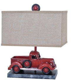 Well Traveled Table Lamp - Red Truck w/ Linen Shade