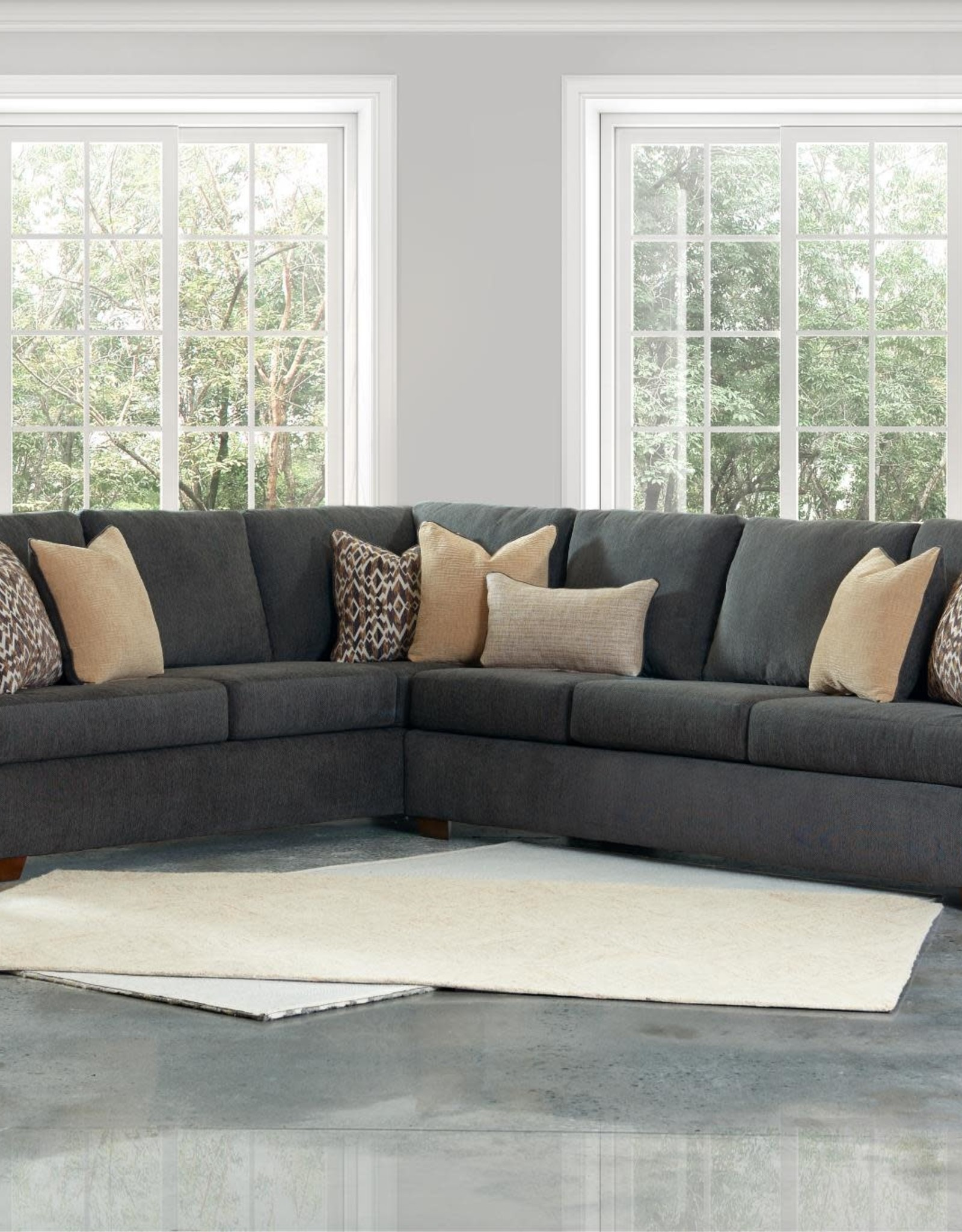 Wood House Atwood Sectional - Dalton Charcoal