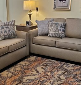 Wood House Hartford Love Seat - Zeus Linen