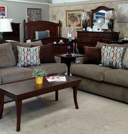 Lane Grandstand Walnut Sofa and Loveseat