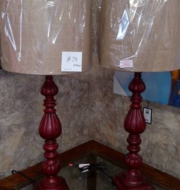 Crestview Slender Avian Distressed Red Lamp w/ Shade
