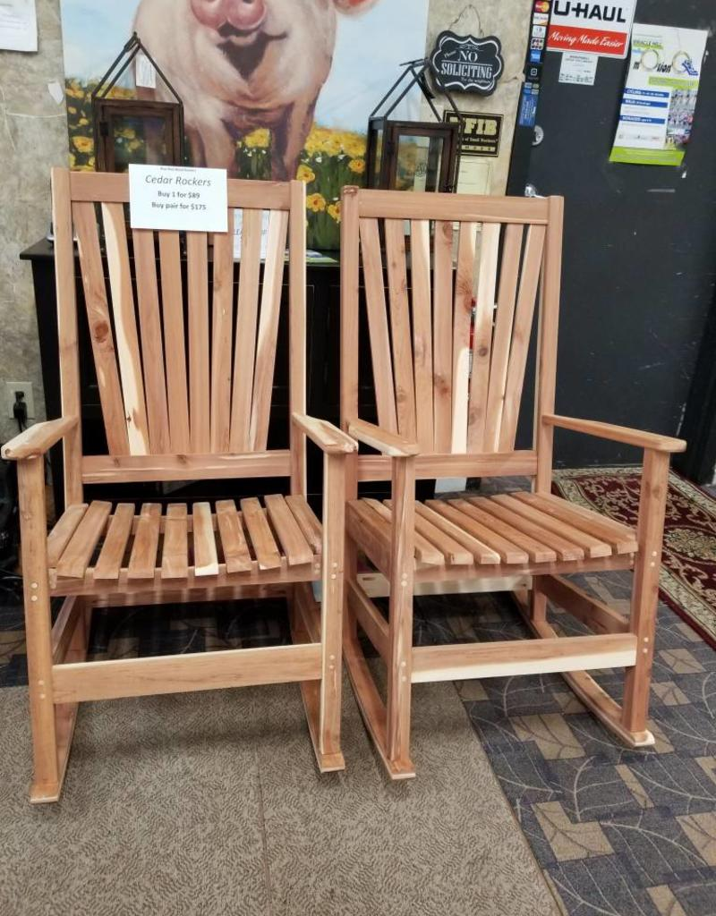 Family Woodworking Pair Of Cedar Rockers Rocking Chair