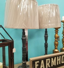 Crestview Gears Table Lamp Blue - Gray Cog-Style Lamp w/ Beige Shade